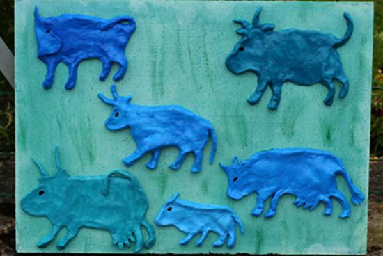 vache troupeau bleu